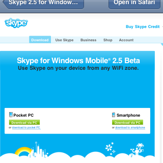 Skype 2.5 beta for Windows Mobile